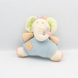 Doudou éléphant bleu vert orange rose BINO