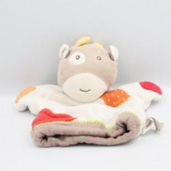 Doudou marionnette vache blanche rouge orange marron vert pois Bébé9