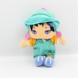 Doudou poupée vert bleu...
