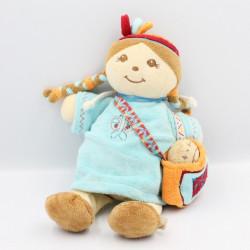 Doudou musical poupée fille indienne robe bleu Pinto et Kaya NOUKIE'S