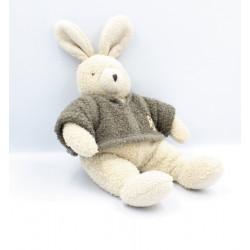 Lapin Classique Doudou lapin blanc pull gris Philomene MOULIN ROTY