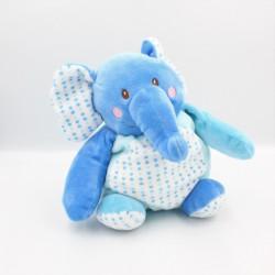 Doudou éléphant bleu blanc coeurs AUCHAN