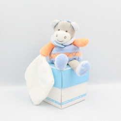 Doudou et compagnie poney ane gris bleu orange mouchoir