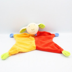 Doudou plat mouton agneau rouge orange PARADISE TOYS