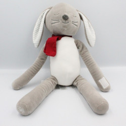 Doudou lapin gris blanc rayé écharpe rouge OBAIBI