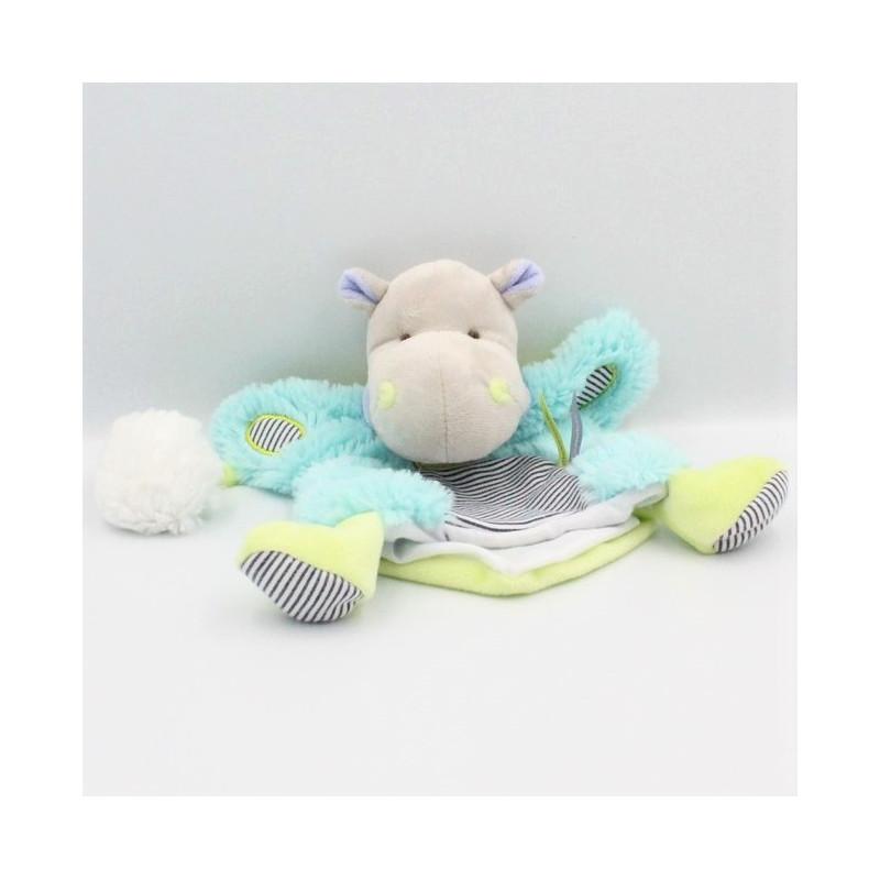 Doudou et compagnie marionnette hippopotame gris bleu vert Pistache