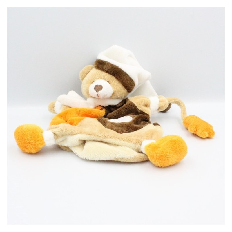 Doudou plat marionnette ours marron orange Biscuit BABY NAT