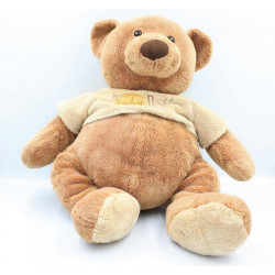 Grand Doudou ours marron pull beige BABY NAT