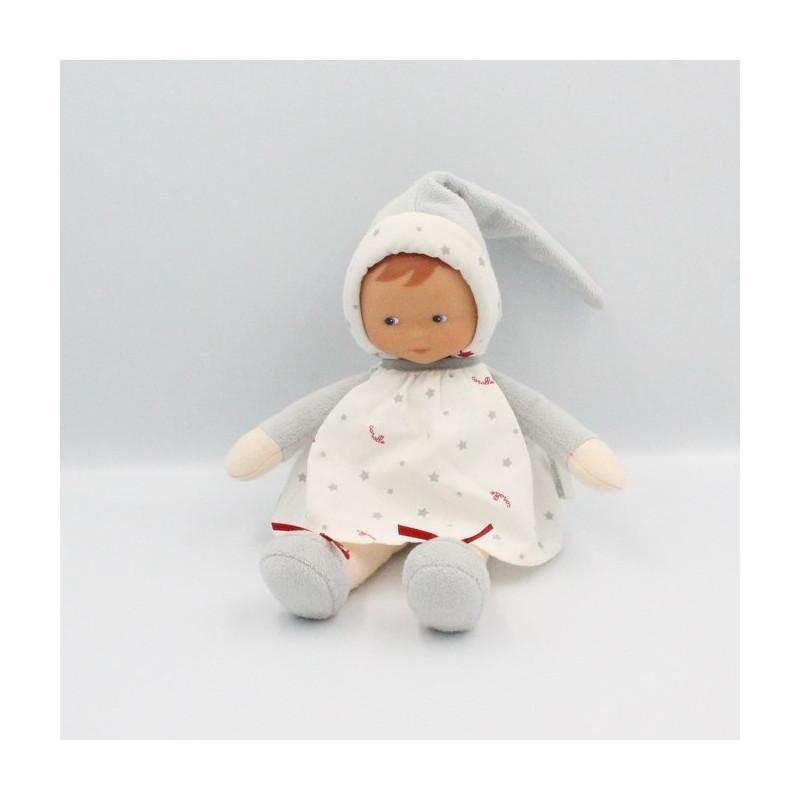 Doudou bébé poupée gris blanc rouge étoiles COROLLE