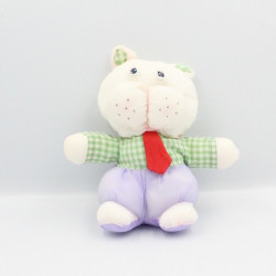 Peluche Puffalump chat blanc mauve vert carreaux cravate rouge