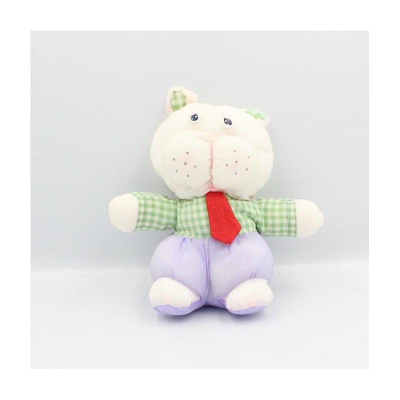 Peluche Puffalump chat blanc mauve vert carreaux cravate rouge