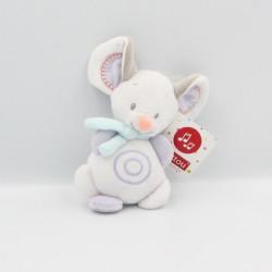 Doudou musical souris blanche mauve grise NATTOU