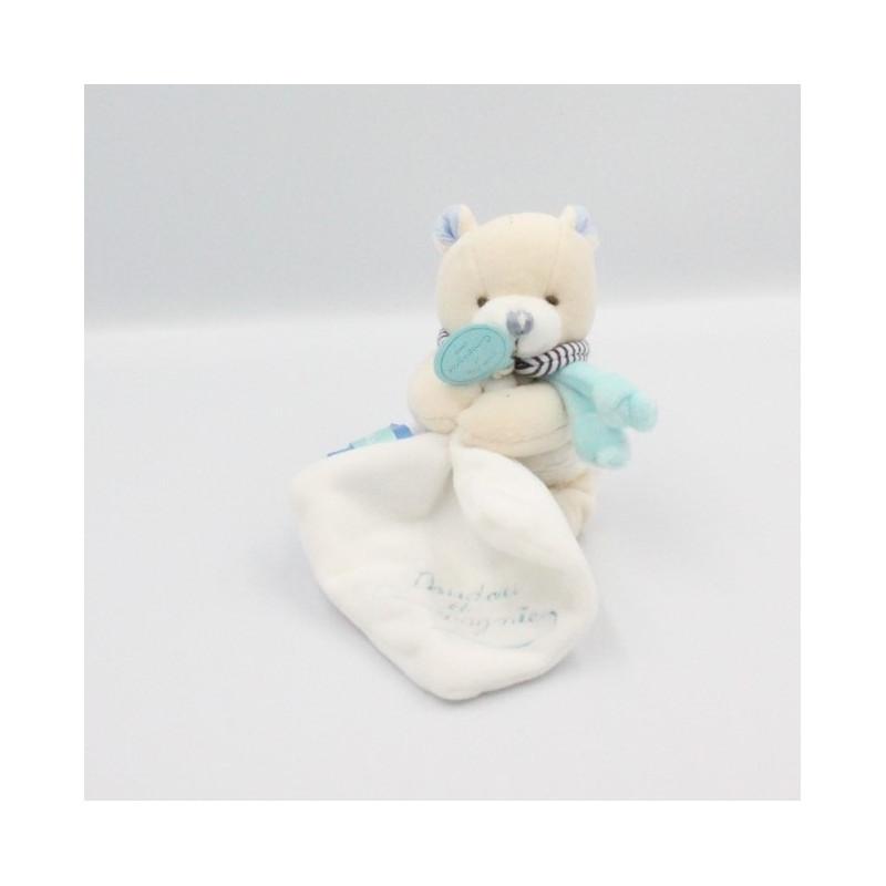 Doudou et compagnie ours écru blanc bleu mouchoir Joli doudou