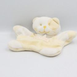 Doudou plat chat blanc jaune SUCRE D'ORGE