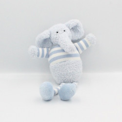 Doudou éléphant bleu blanc rayé grelot