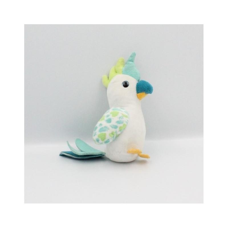 Doudou sonore oiseau perroquet blanc bleu vert JEMINI
