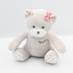 Doudou ours gris rose blanc étoiles Musti Mustela