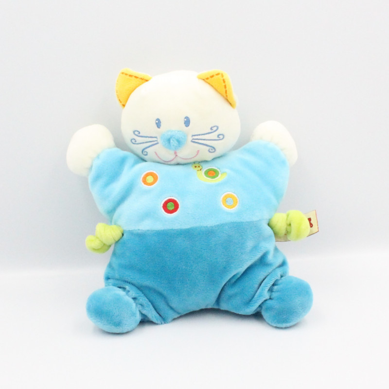 Doudou semi plat chat bleu escargot NICOTOY
