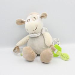 Doudou vache beige écru gris pois hochet MOTS D'ENFANTS