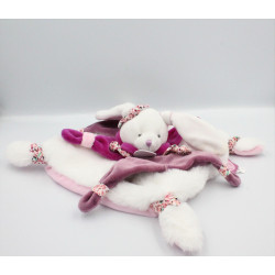 Doudou et compagnie plat lapin blanc rose prune cerise