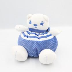 Doudou ours bleu balnc pois URIAGE