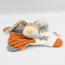Doudou plat lapin marron blanc orange Milo Bengy