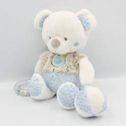 Doudou ours blanc beige bleu pois balle hochet MOTS D'ENFANTS