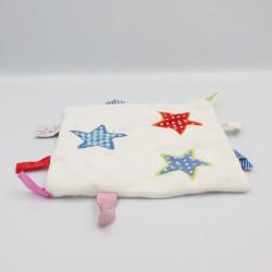Doudou plat carré blanc étoiles HEMA