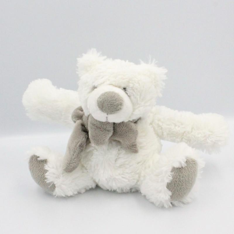 Doudou peluche ours blanc gris echarpe