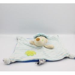 Doudou plat ours bleu blanc rayé Dodo d'amour MGM