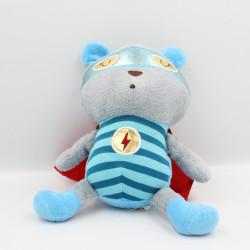 Doudou ours gris bleu rouge cape SOSTRENE GRENES