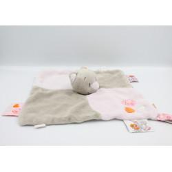 Doudou plat chat gris rose coeur Iris NOUKIE'S