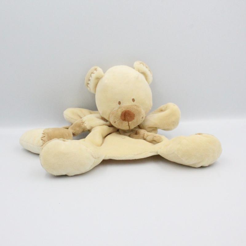 Doudou plat ours écru beige hochet coeur NICOTOY