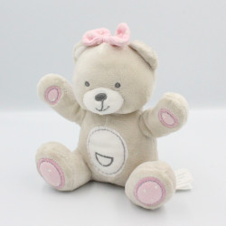 Doudou ours beige blanc rose KIMBALOO