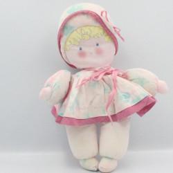 Ancienne poupée chiffon rose blanc bleu fleurs COROLLE