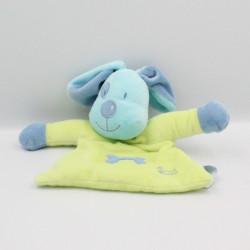 Doudou plat chien bleu vert os TIAMO