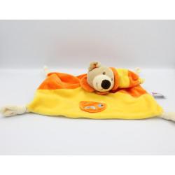 Doudou plat ours orange jaune TOODO