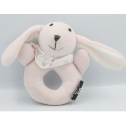 Doudou hochet lapin rose ATMOSPHERA