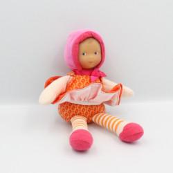 Doudou lutin poupée rose orange fleurs jupe COROLLE