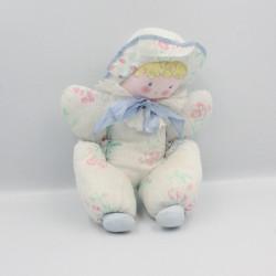 Ancienne poupée chiffon blanc bleu fleurs COROLLE
