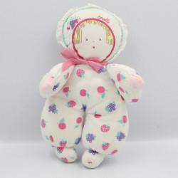 Ancienne poupée chiffon blanc rose fruits COROLLE