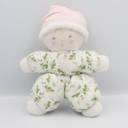 Doudou poupée lutin blanc rose feuilles vertes TARTINE ET CHOCOLAT