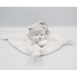 Doudou plat carré ours blanc rayé gris étoiles NICOTOY