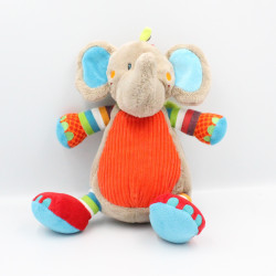 Doudou éléphant gris beige rouge bleu vert orange rayé TEX