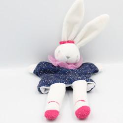 Doudou plat lapin blanc bleu rose IDEAL PROMOTION