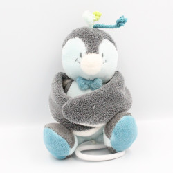 Doudou musical oiseau pingouin gris bleu Louis NOUKIE'S