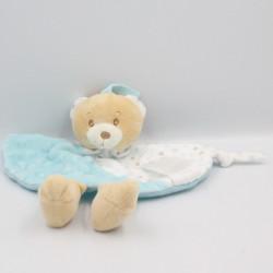 Doudou plat ours bleu blanc beige étoiles TOM & KIDDY TOMKIDS