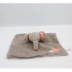 Doudou plat éléphant gris rose rayé coeurs BABYLOVE