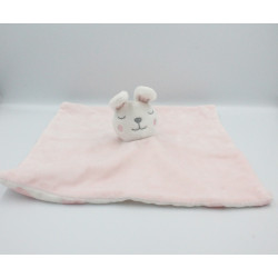 Doudou plat lapin rose blanc nuages PRIMARK EARLY DAYS