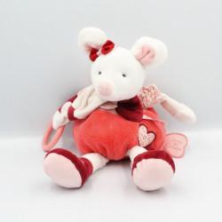 Doudou et compagnie souris rose rouge blanc Clementine